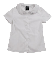 Short Sleeve Peter Pan Blouse with Lace Trim Collar (Feminine Fit)