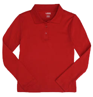 Long Sleeve Interlock Knit Polo with Picot Collar (Feminine Fit)