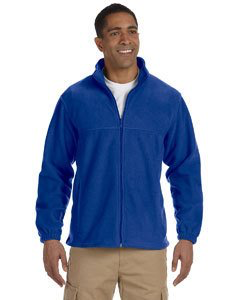 Harriton Men 8 oz. Full-Zip Fleece Blue